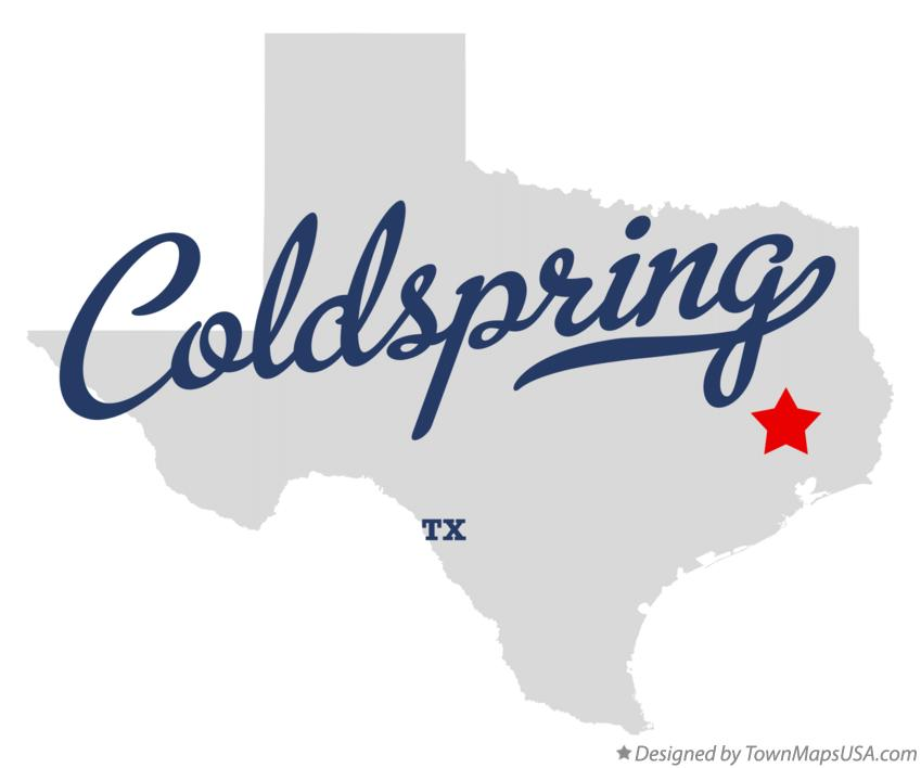 Map of Coldspring Texas TX