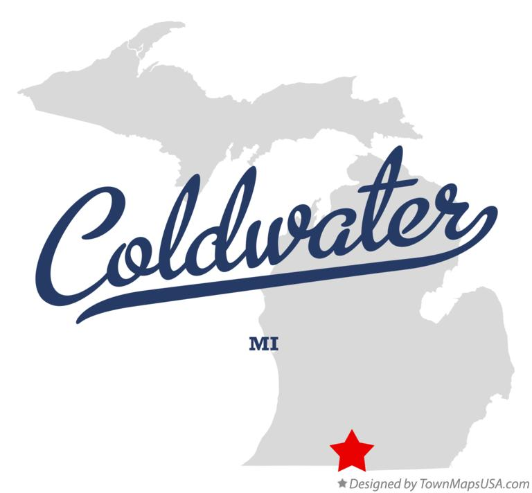 Map of Coldwater Michigan MI