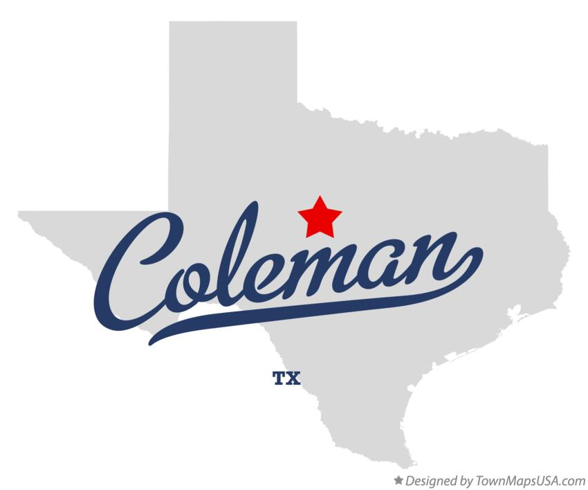 Map of Coleman Texas TX