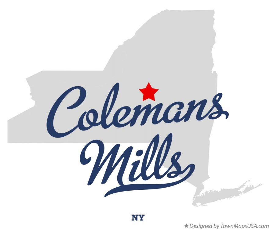 Map of Colemans Mills New York NY