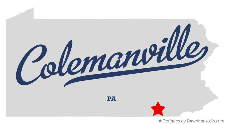 Map of Colemanville Pennsylvania PA