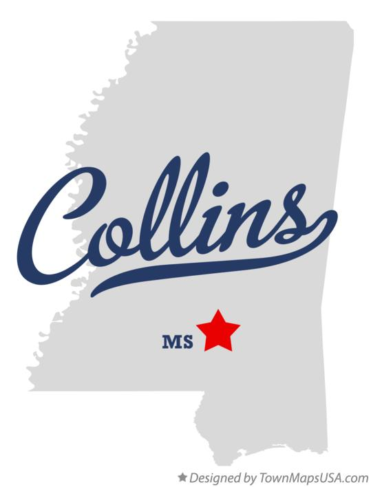 Map of Collins Mississippi MS