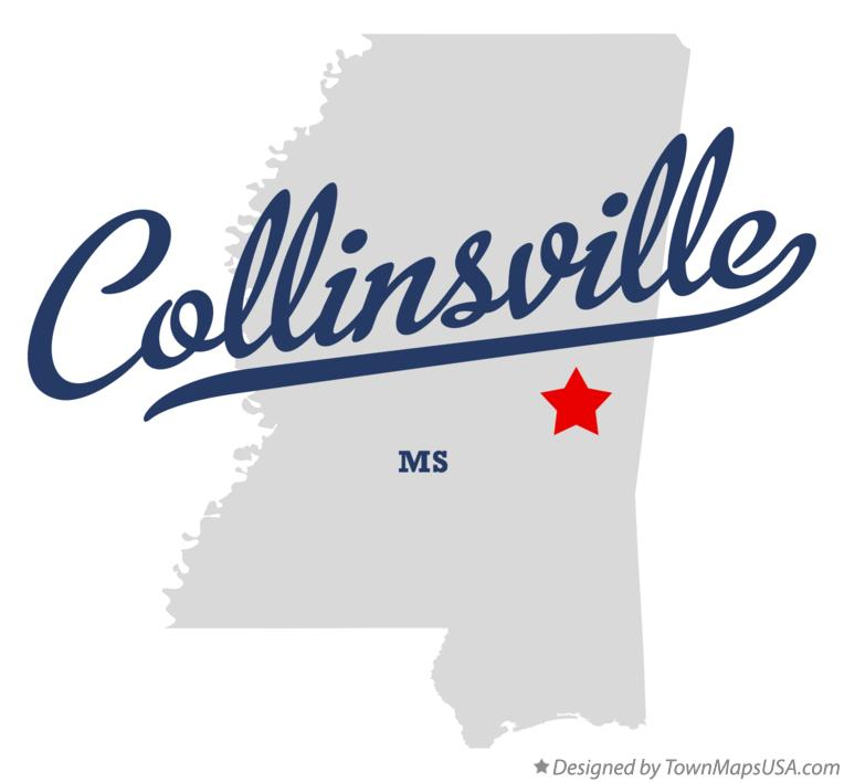 Map of Collinsville Mississippi MS