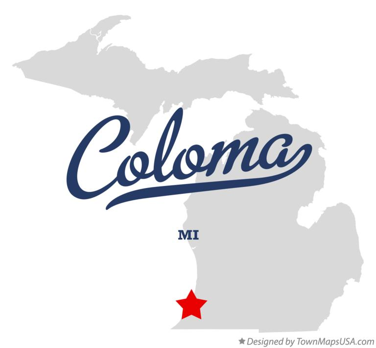 Map of Coloma Michigan MI