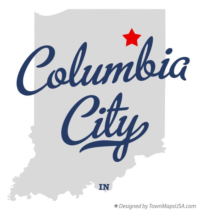 Map of Columbia City Indiana IN
