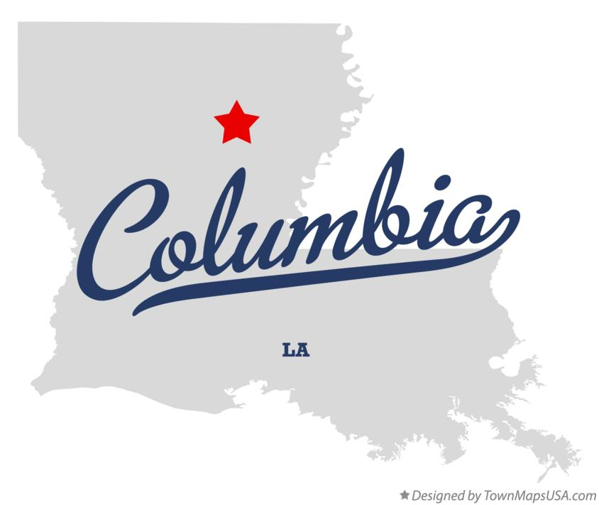 Map of Columbia Louisiana LA