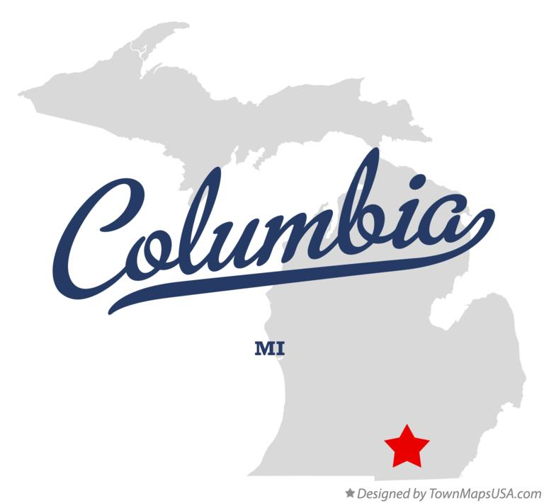 Map of Columbia Michigan MI