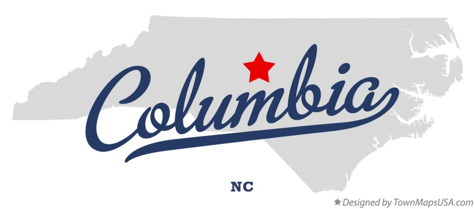 Map of Columbia, Randolph County, NC, North Carolina