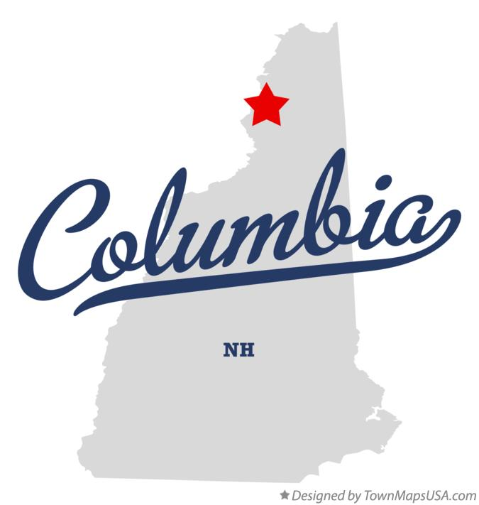 Map of Columbia New Hampshire NH