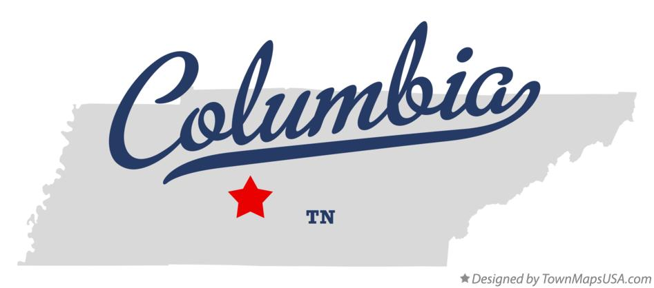 Map of Columbia, TN, Tennessee