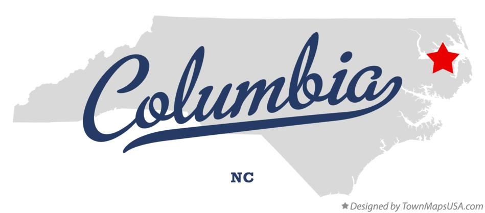 Map of Columbia North Carolina NC