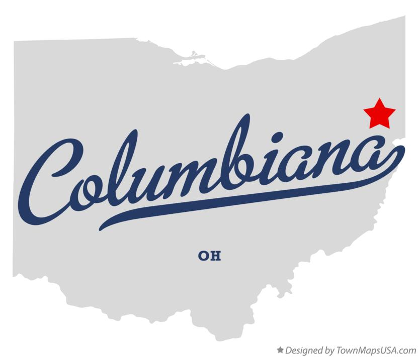 Map of Columbiana Ohio OH