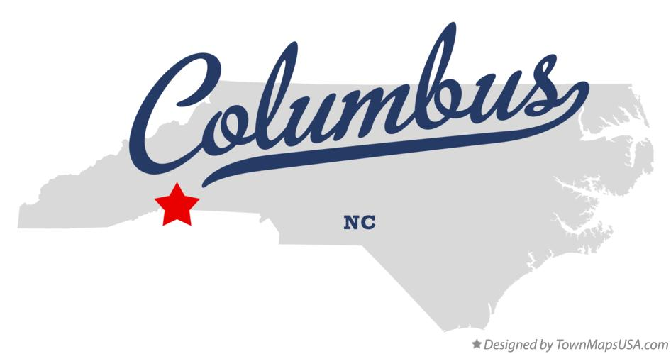 Map of Columbus North Carolina NC