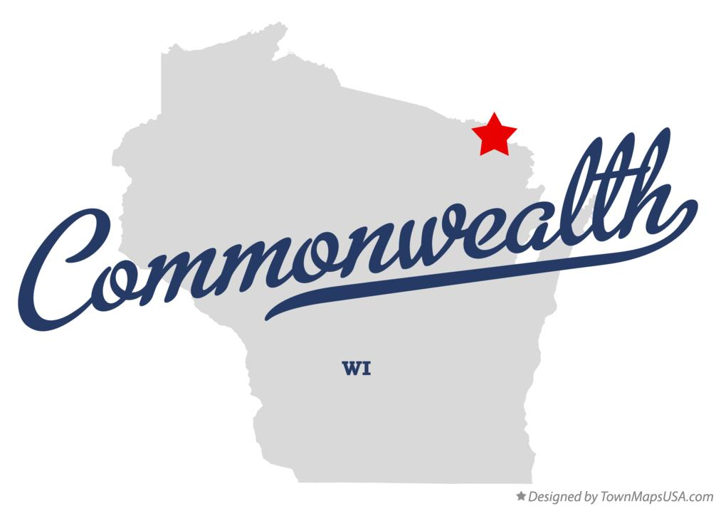 Map of Commonwealth Wisconsin WI