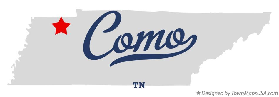 Map of Como Tennessee TN