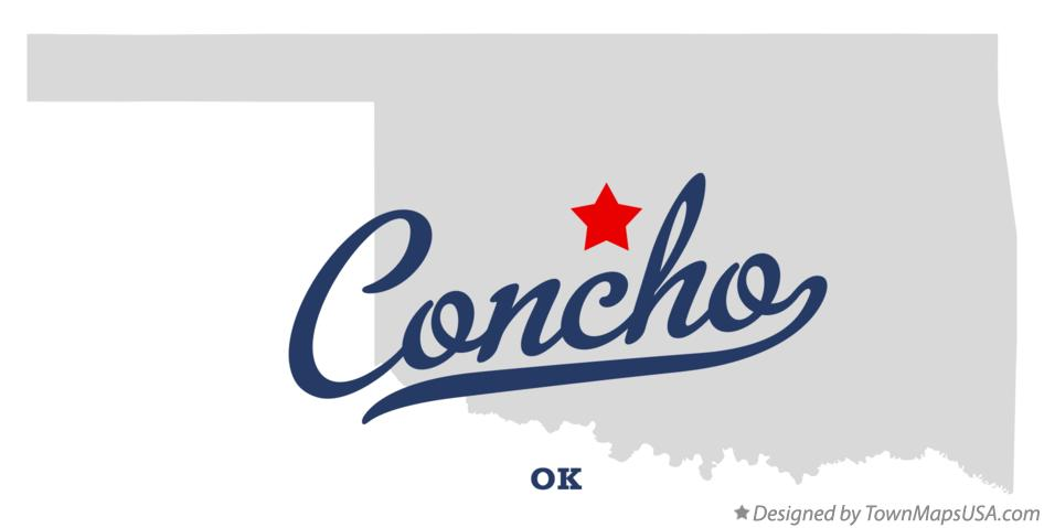 Map of Concho Oklahoma OK