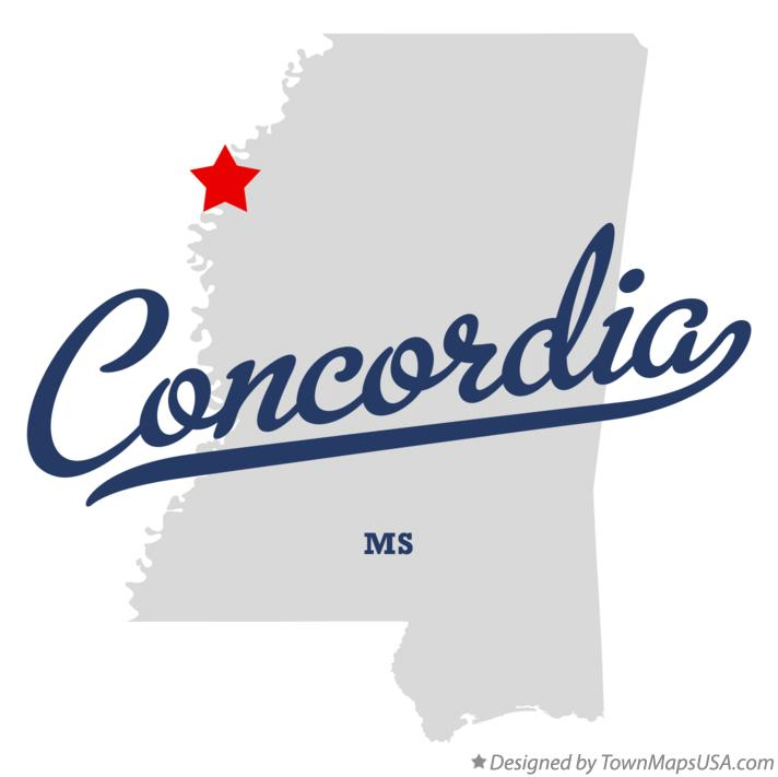 Map of Concordia Mississippi MS