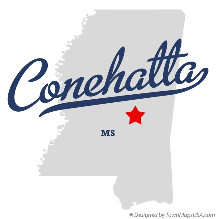 Map of Conehatta Mississippi MS