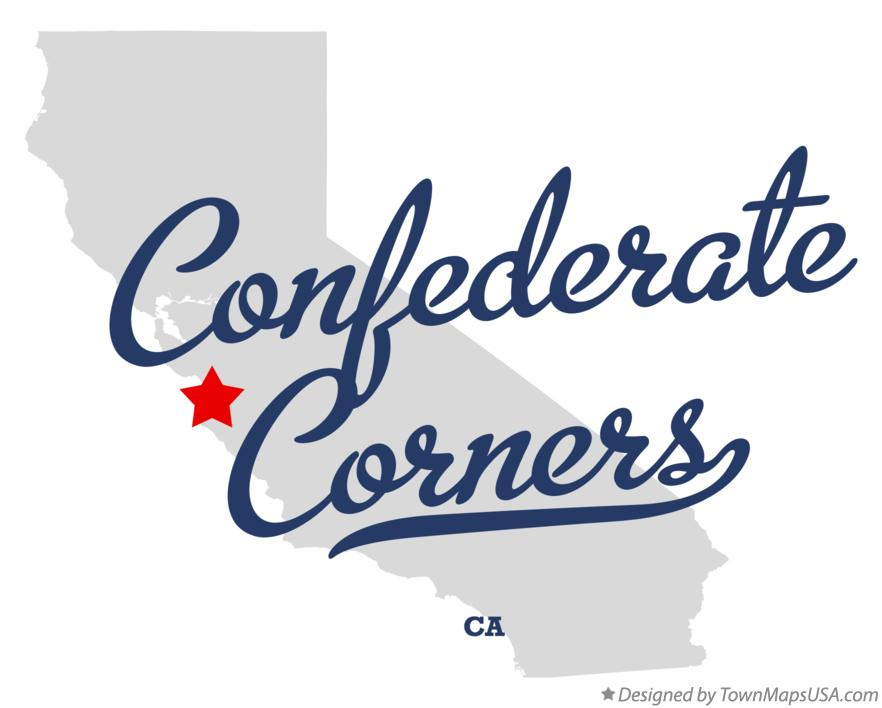 Map of Confederate Corners California CA