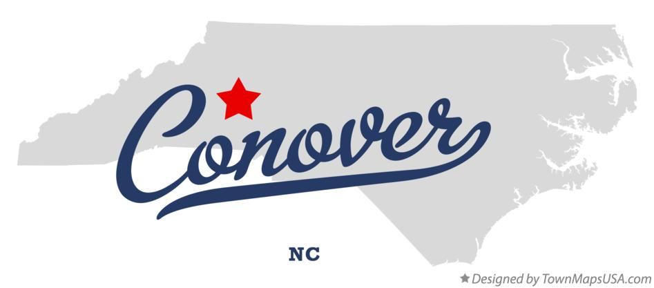 Map of Conover North Carolina NC
