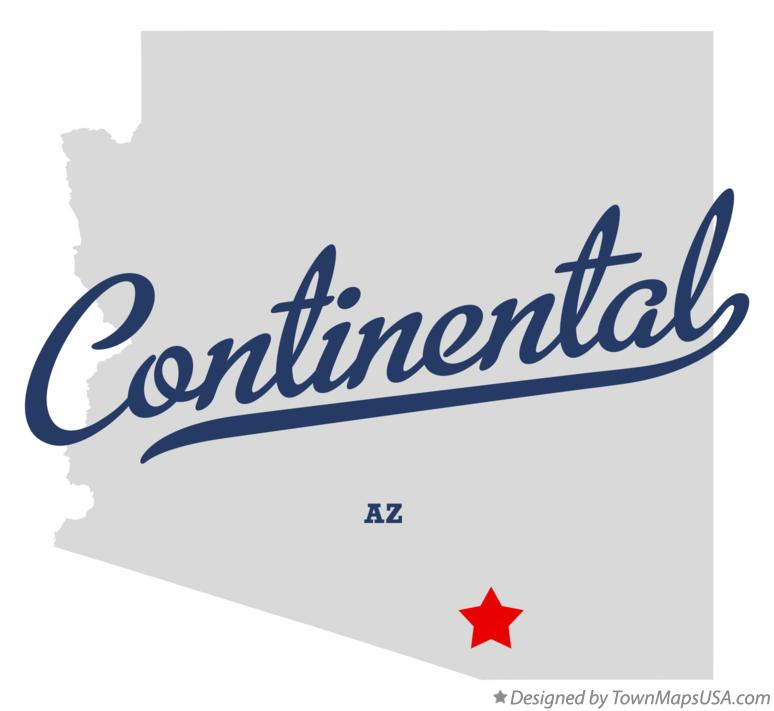 Map of Continental Arizona AZ