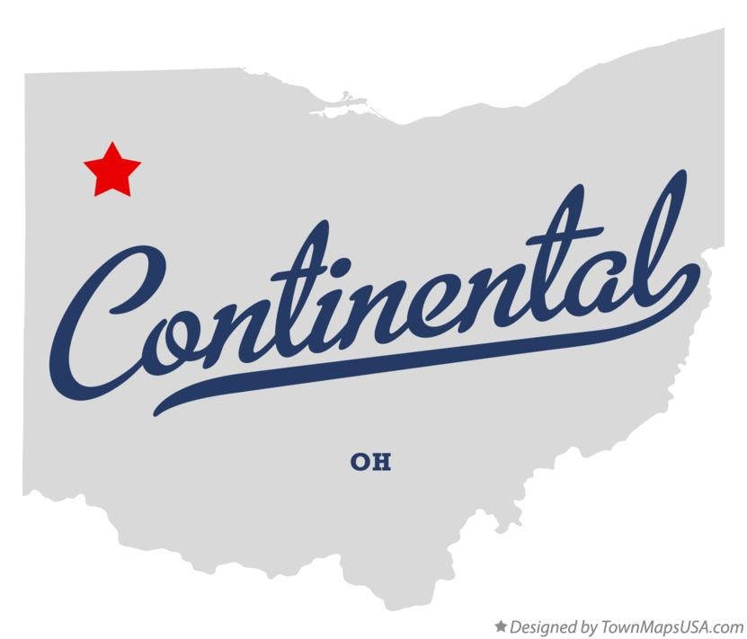 Map of Continental Ohio OH