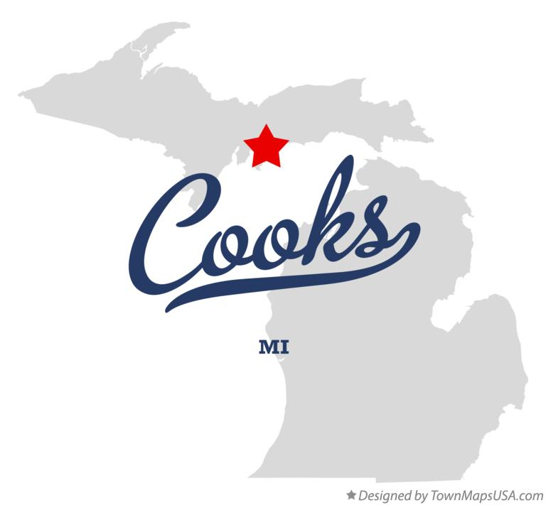 Map of Cooks Michigan MI