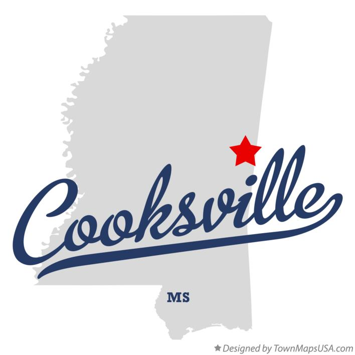Map of Cooksville Mississippi MS