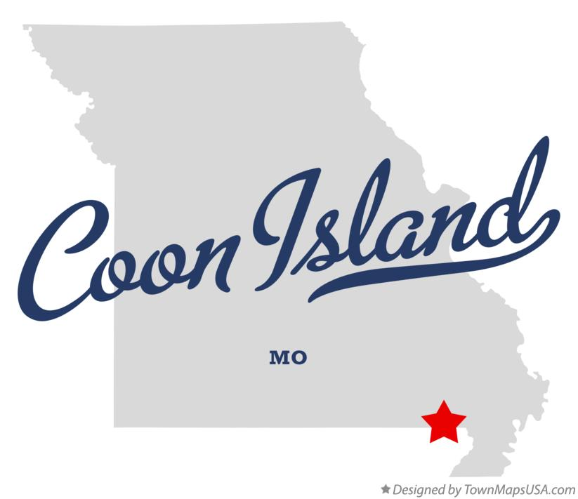Map of Coon Island Missouri MO