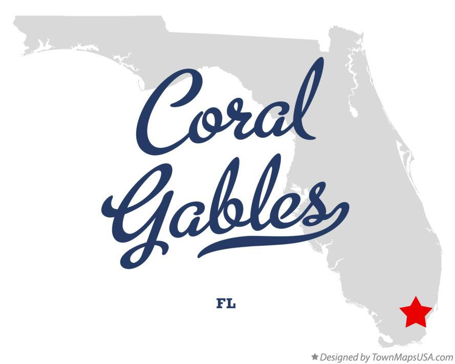 Map Of Coral Gables Fl Florida