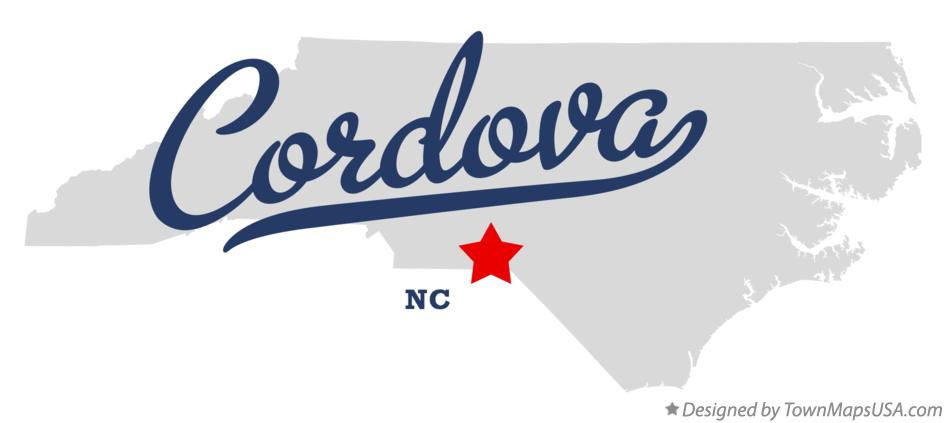 Map of Cordova North Carolina NC