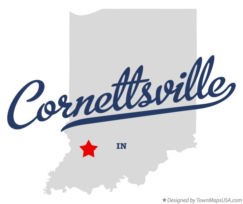 Map of Cornettsville Indiana IN