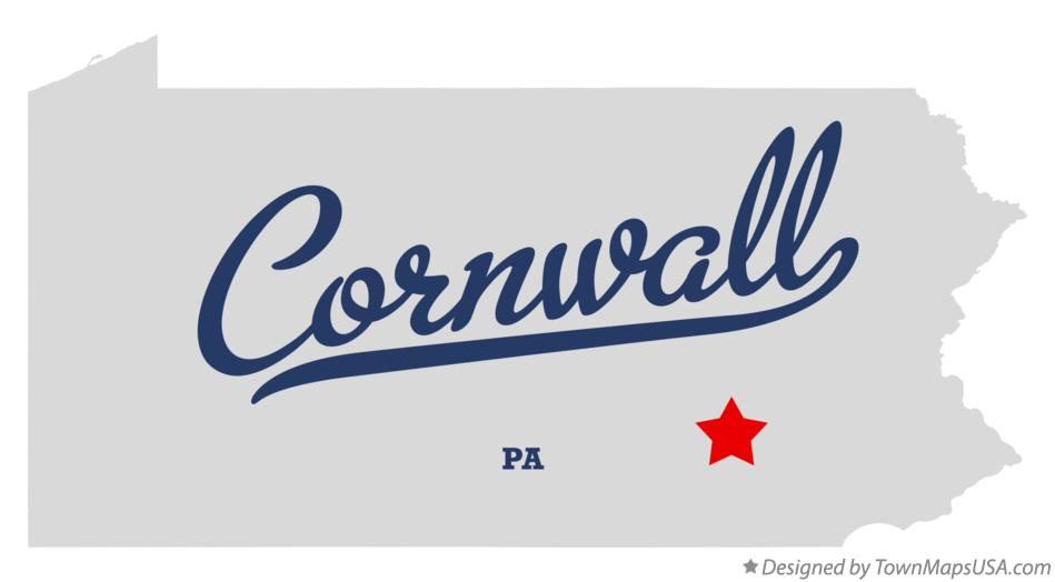 Map of Cornwall Pennsylvania PA