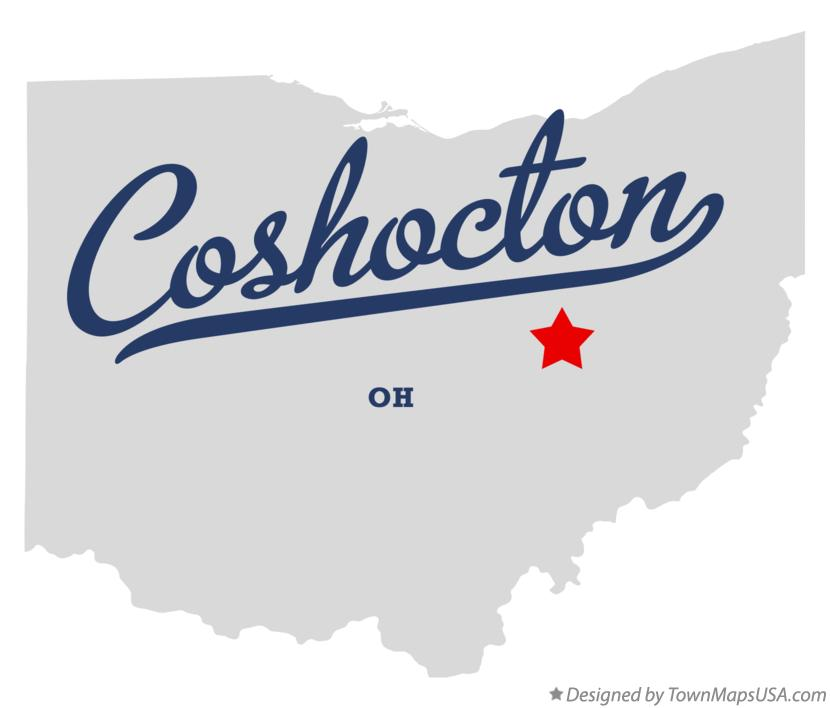 Map of Coshocton Ohio OH