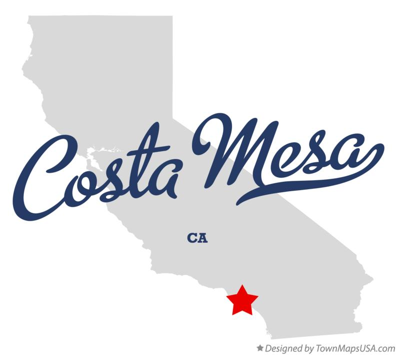 Map of Costa Mesa California CA