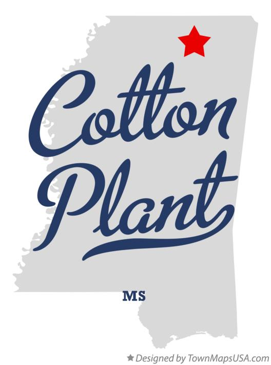 Map of Cotton Plant Mississippi MS