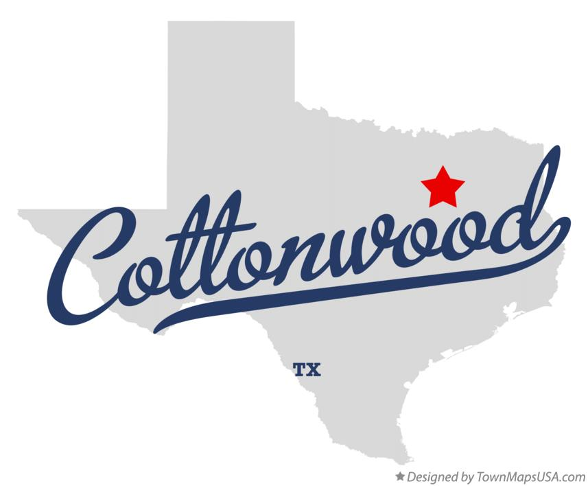 Map of Cottonwood Texas TX