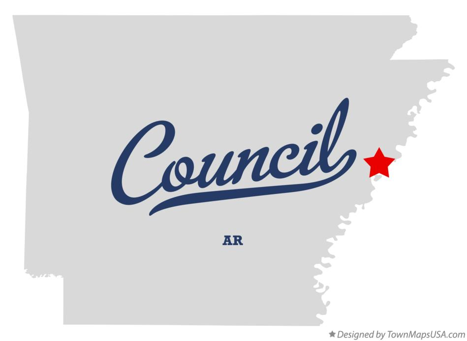 Map of Council Arkansas AR