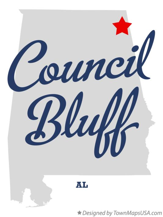Map of Council Bluff Alabama AL