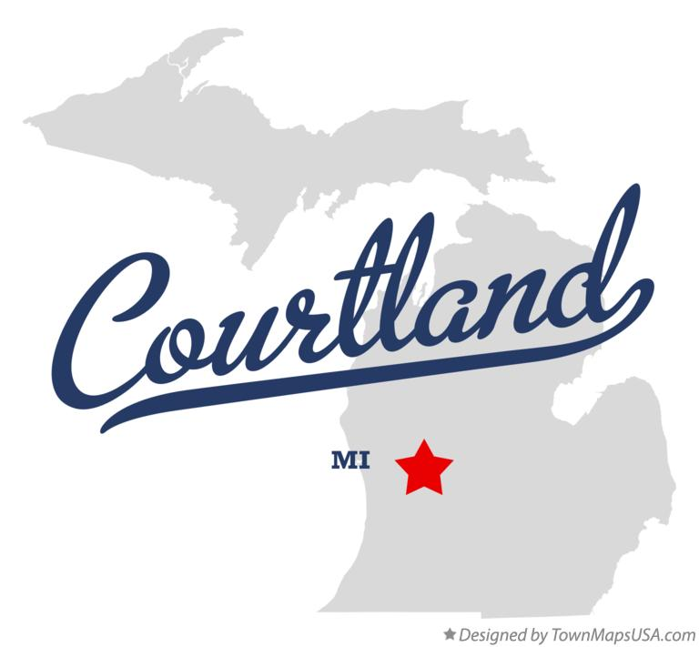 Map of Courtland Michigan MI