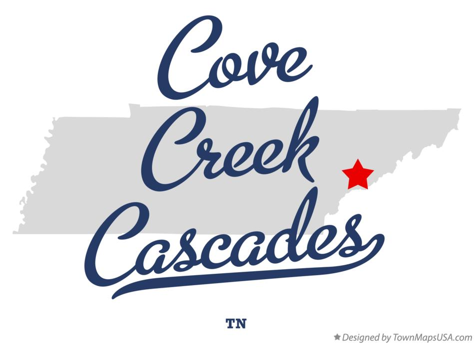 Map of Cove Creek Cascades Tennessee TN