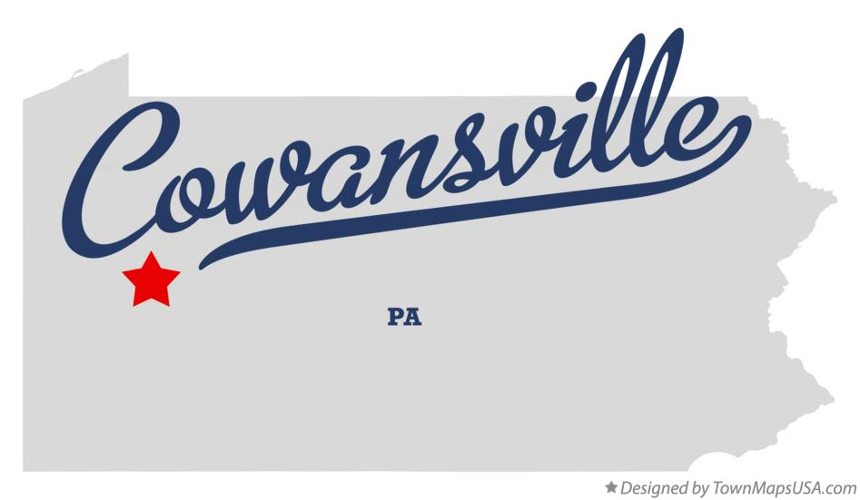 Map of Cowansville Pennsylvania PA