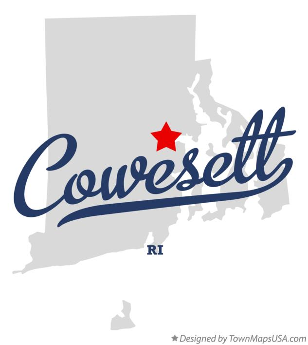 Map of Cowesett Rhode Island RI