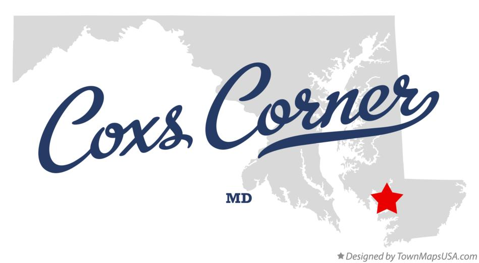 Map of Coxs Corner Maryland MD