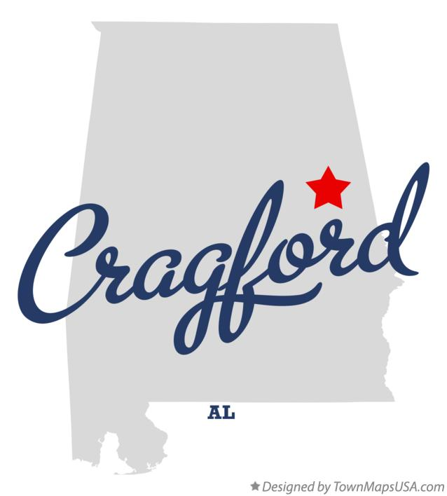 Map of Cragford Alabama AL