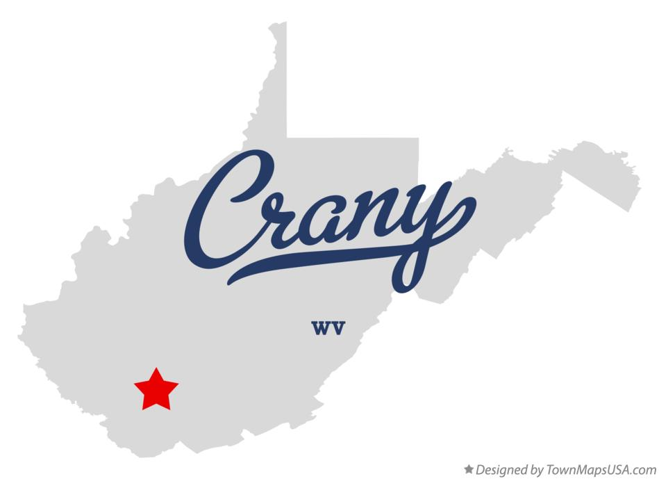 Map of Crany West Virginia WV