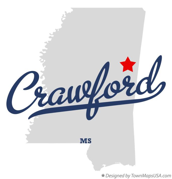 Map of Crawford Mississippi MS