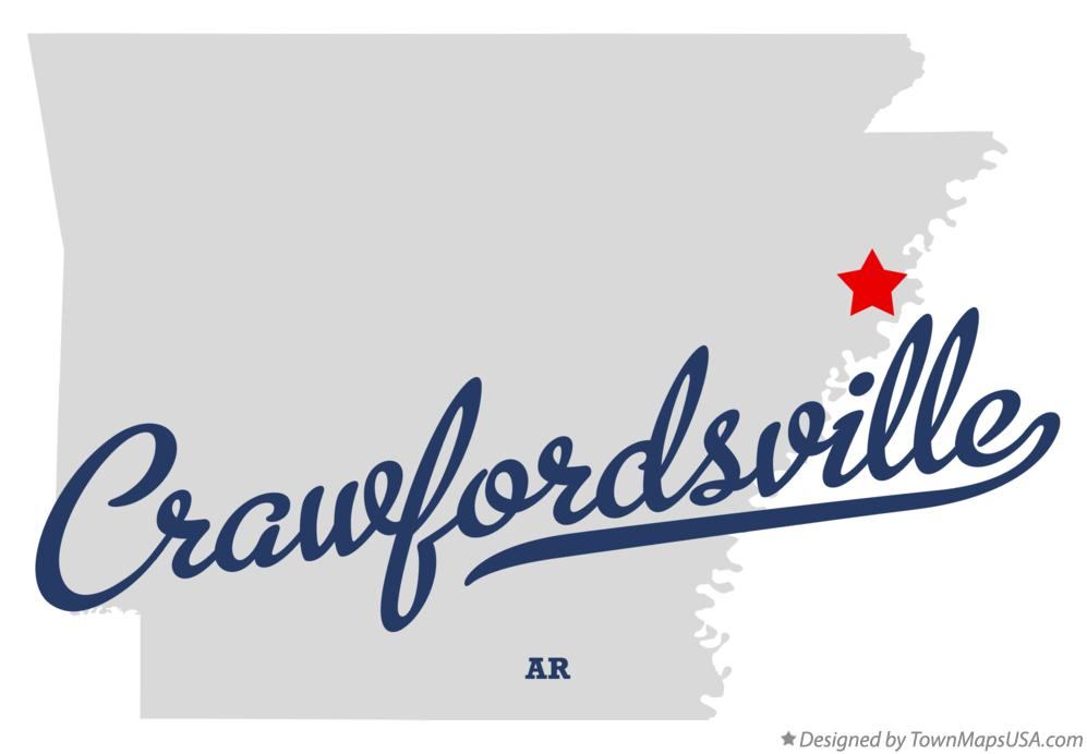 Map of Crawfordsville Arkansas AR