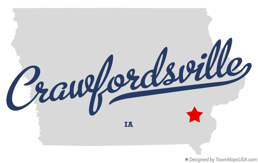 Map of Crawfordsville Iowa IA