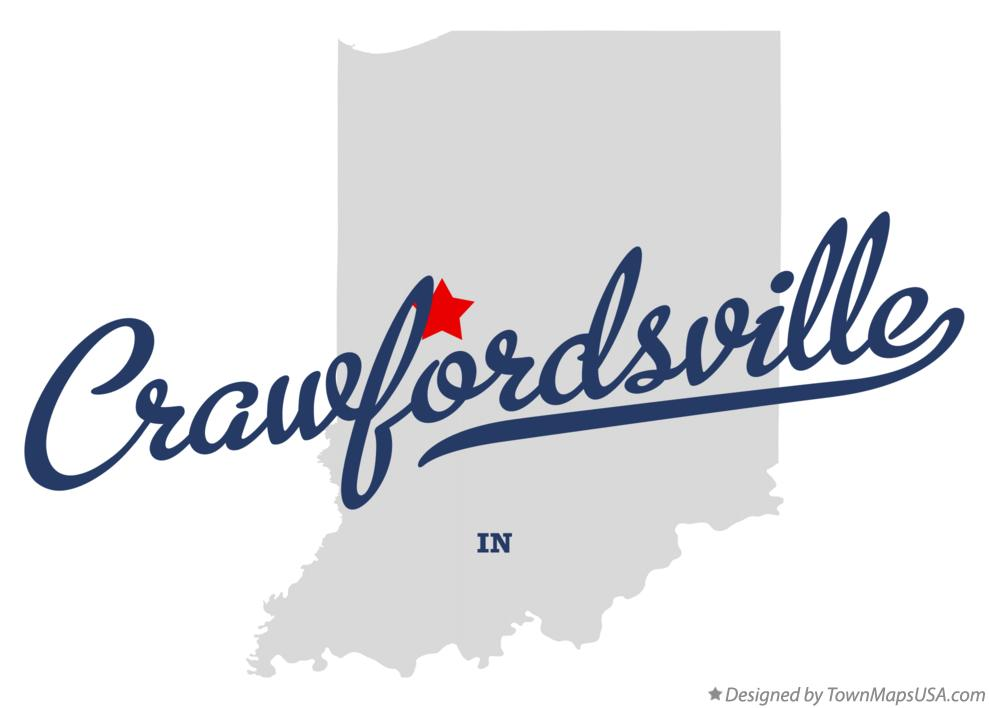 Map of Crawfordsville Indiana IN